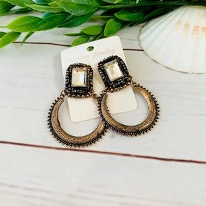 Jewelry - Large Ethnic Earrings, brass smoke crystal